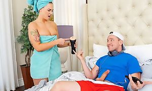 Curvy redhead damsel with juicy melons gets nicely fucked in bed