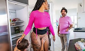 Well-shaped black MILF seduces and copulates her stepson