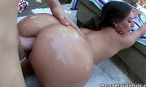 Beautiful big oiled up pain in the neck gets fucked