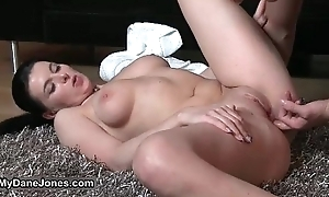Busty brunette woman gets her shaved